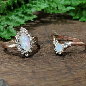5/$25 ✨ Faux Opal Rose Gold Ring Set